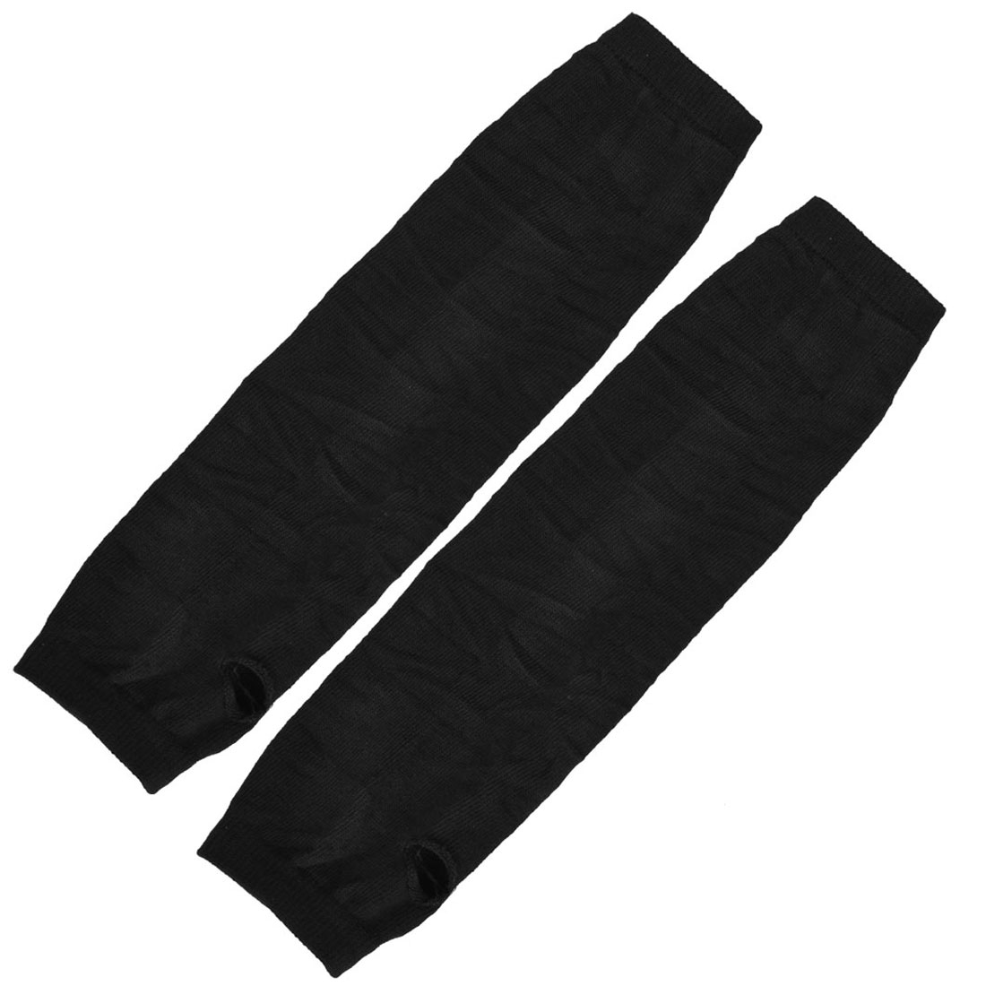 Pair Black Acrylic Fingerless Thumbhole Arm Warmers Long Gloves for Lady