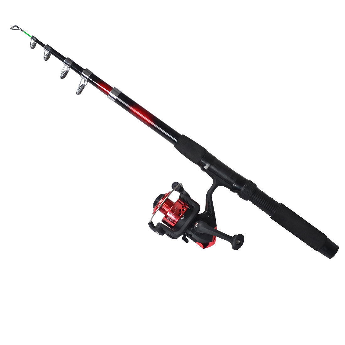 Fish Rod 6 Sections Retractable Red Black 1.95M Long w Fishing Spinning Reel