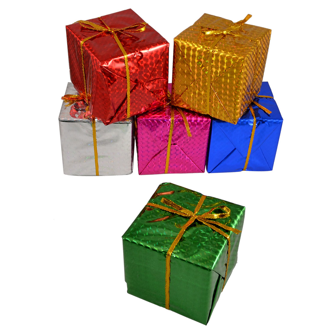 6 Pcs Multi Color 8x8x8cm Cubic Gift Ornament Box Christmas Tree Hanger