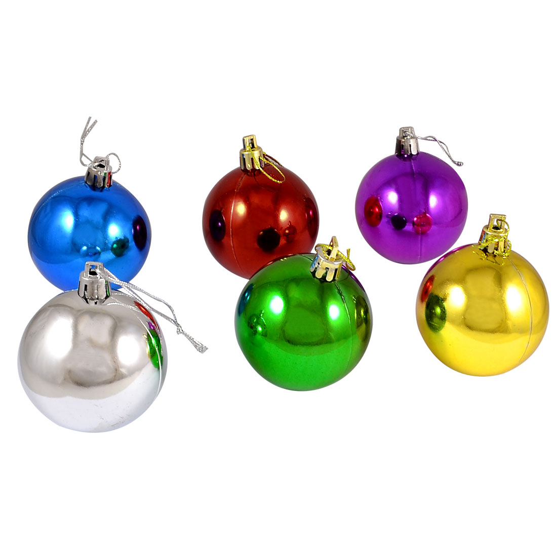 Multi Color 6cm Plastic Christmas Tree Decor Hanger Ball Pendant 6 Pcs