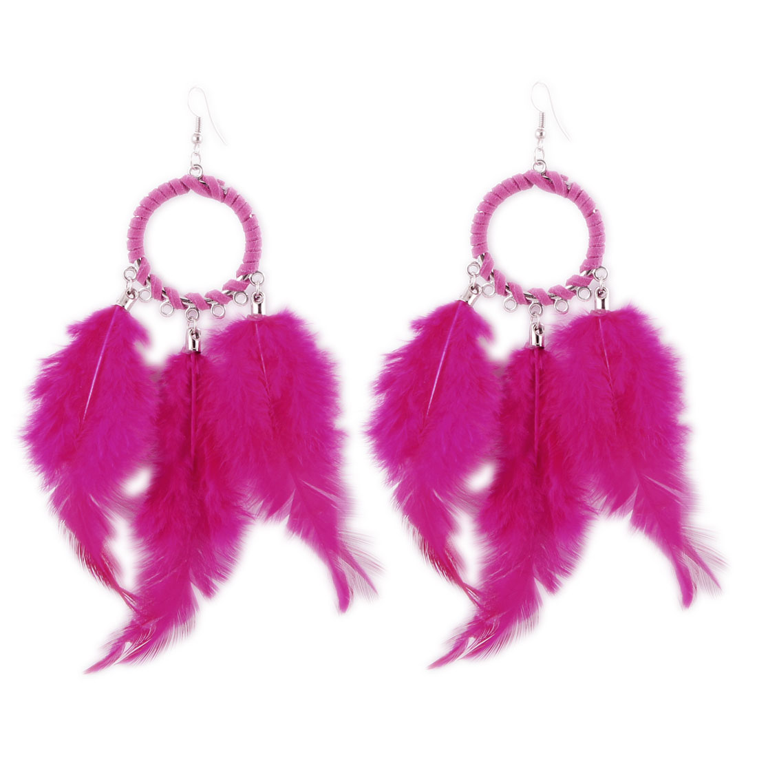 Amaranth Faux Feather Pendant Fish Hook Earrings Eardrop Pair for Ladies