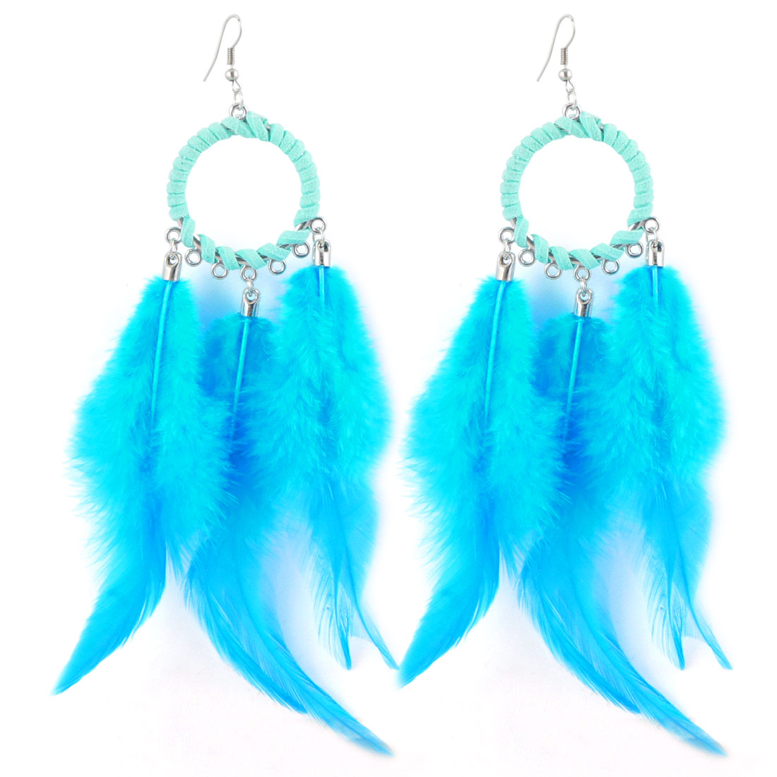 Sky Blue Faux Feather Pendant Fish Hook Earrings Eardrop Pair for Lady