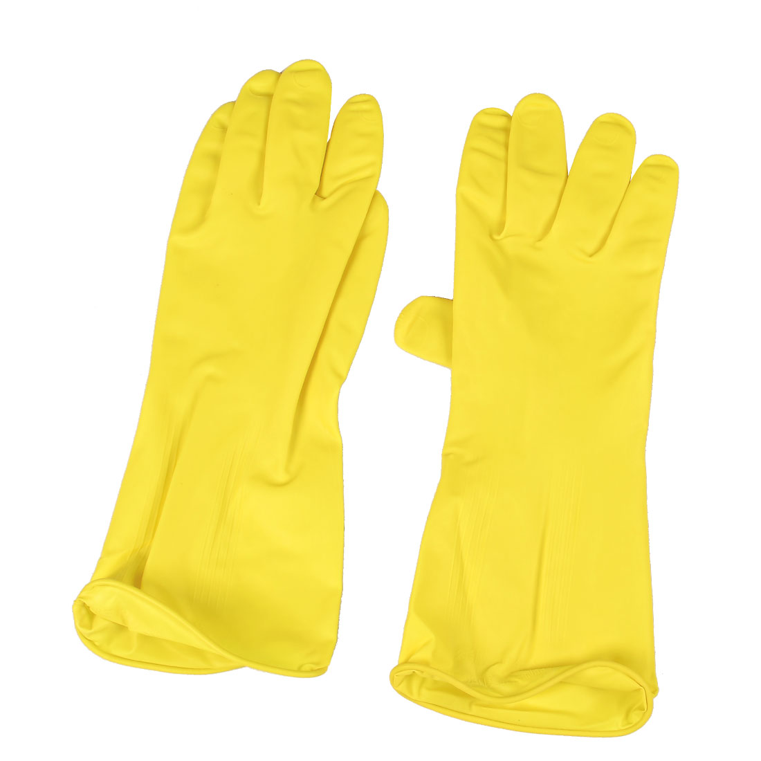 Pair Yellow Nonslip Kitchen Dishwashing Cleaning Washing Latex Gloves