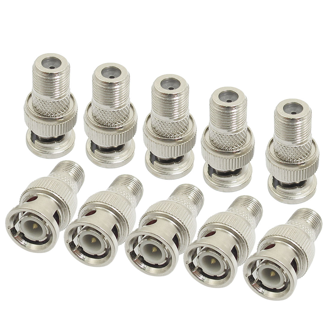 10 Pcs Replacement BNC Male to F Female Plug Metal Adapter Connectors