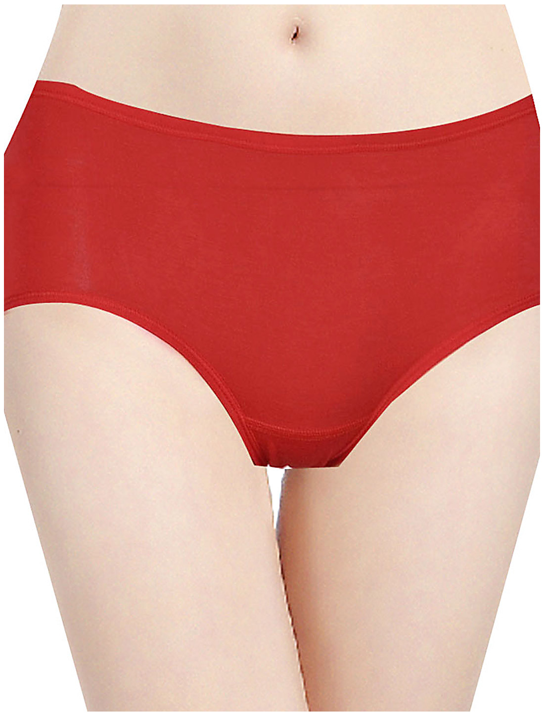 Ladies Solid Red Waist Briefs Underwear Panties Thongs XS
