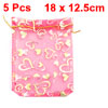 Gold Tone Fuchsia Heart Print Sheer Organza Bag w Drawstring 5 Pcs