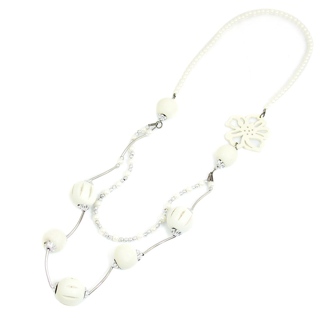White Plastic Pearl Detail Double Layers Necklace for Ladies