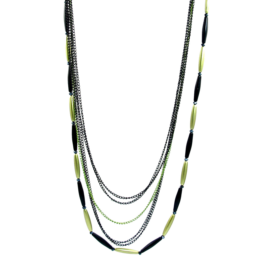 Green Black Beads Detail Lobster Clasp Necklace for Ladies
