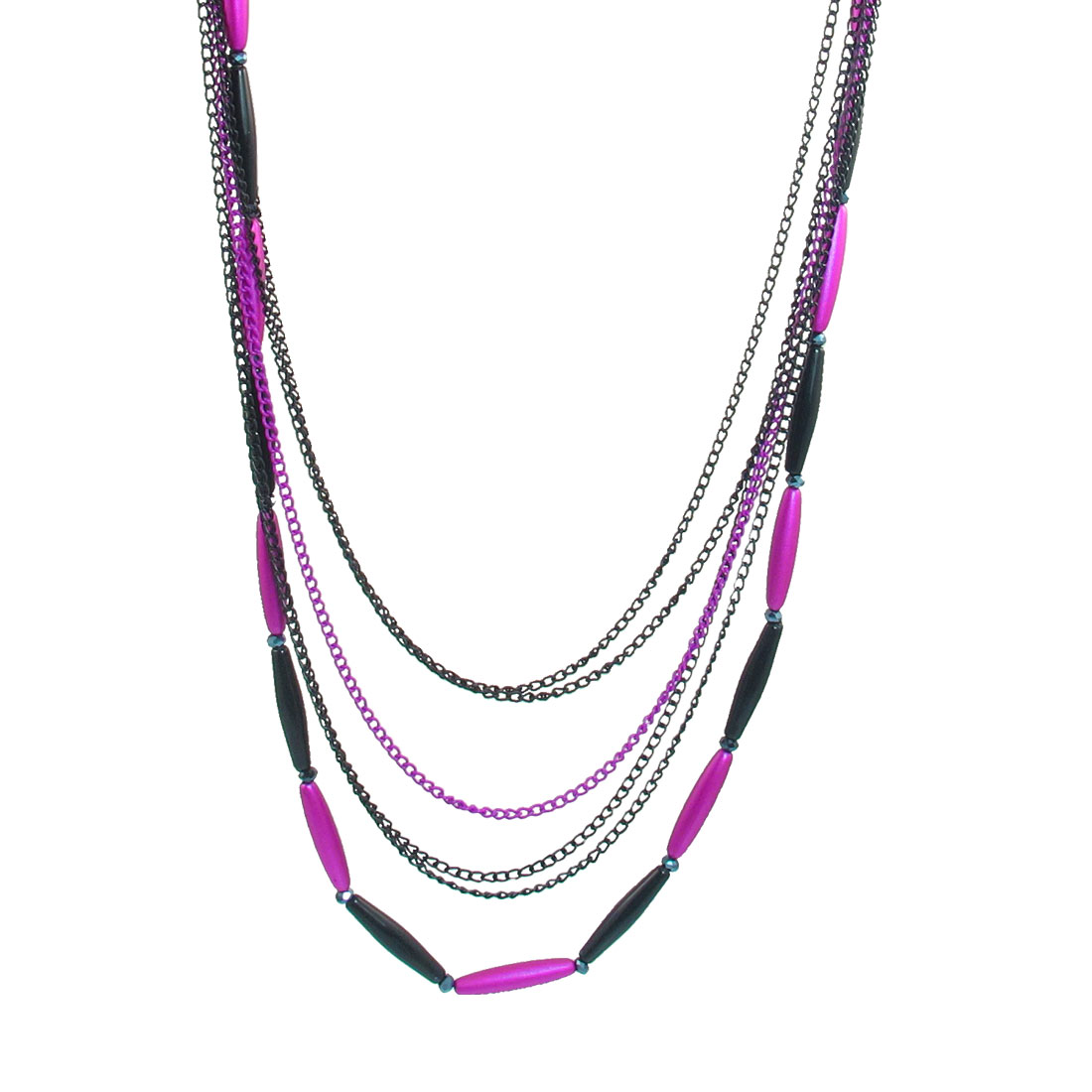 Fuchsia Black Multi Layers Bead Detail Lobster Clasp Necklace for Ladies