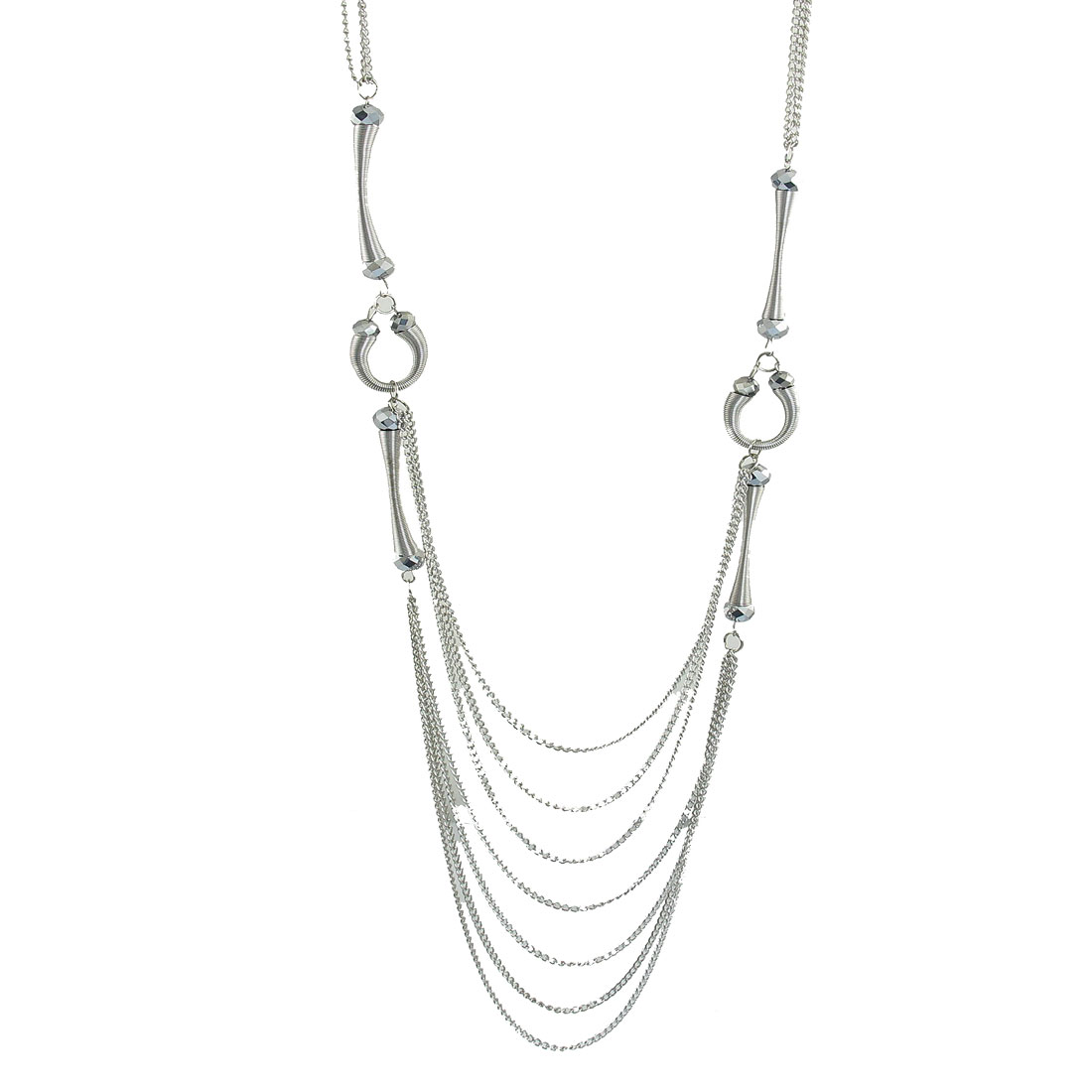 Silver Tone Sparkling Beads Detail Lobster Clasp Necklace for Women