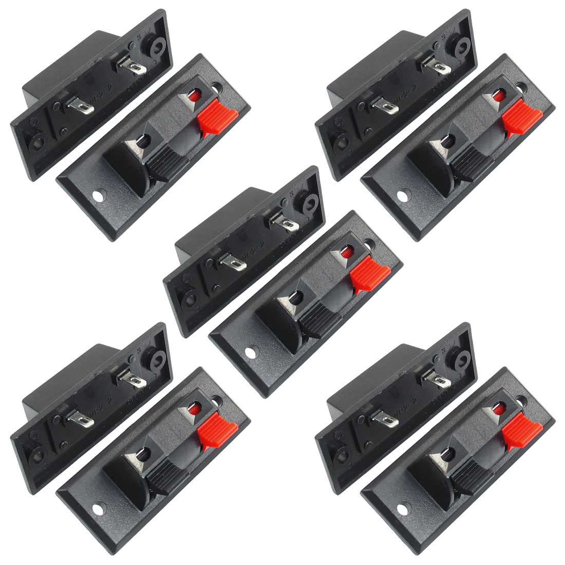 10 Pcs Single Row 1 Red 1 Black 2 Position Push Type Speaker Terminals