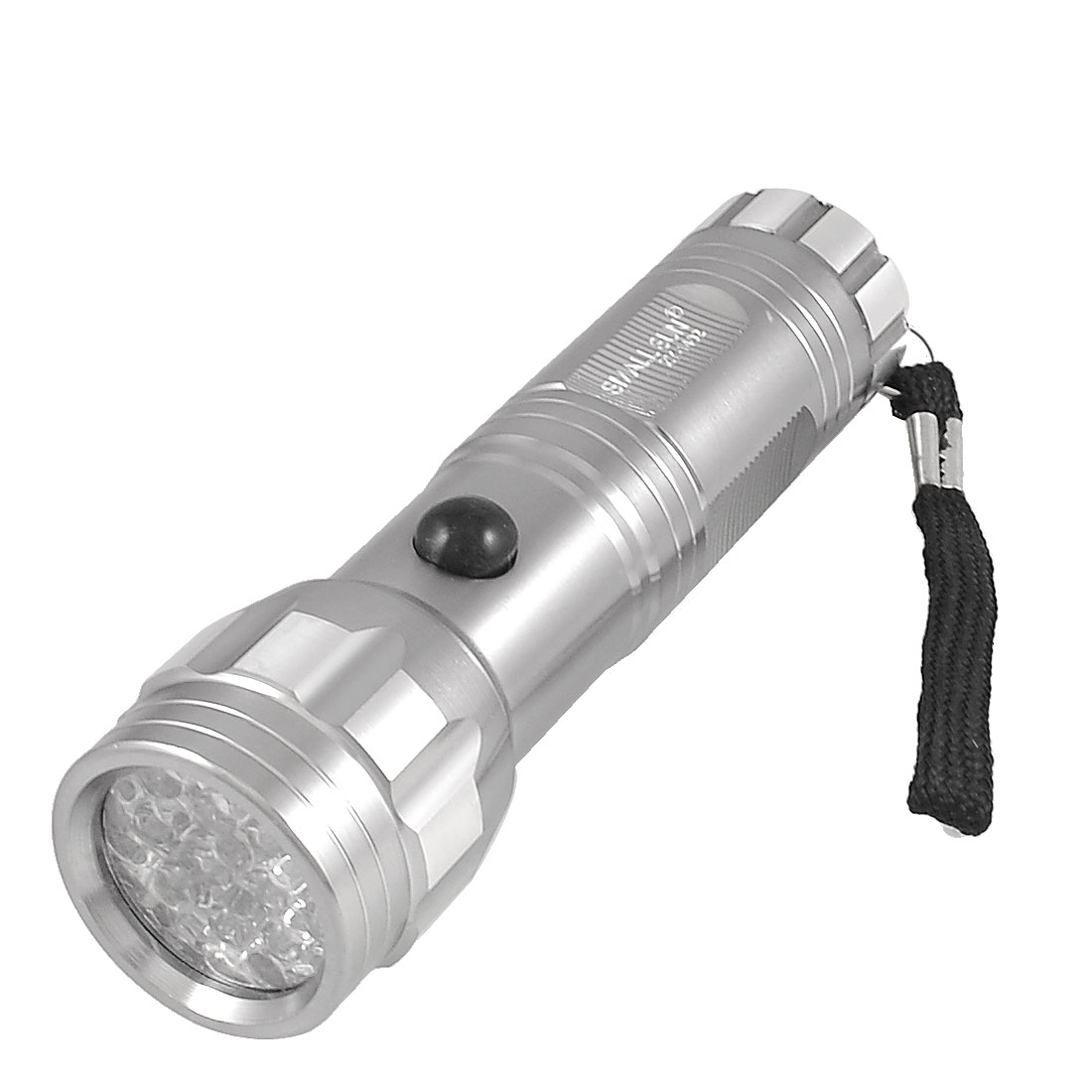 Silver Tone Metal 14 LED 80 Lumen White Lights Flashlight Torch w Nylon String