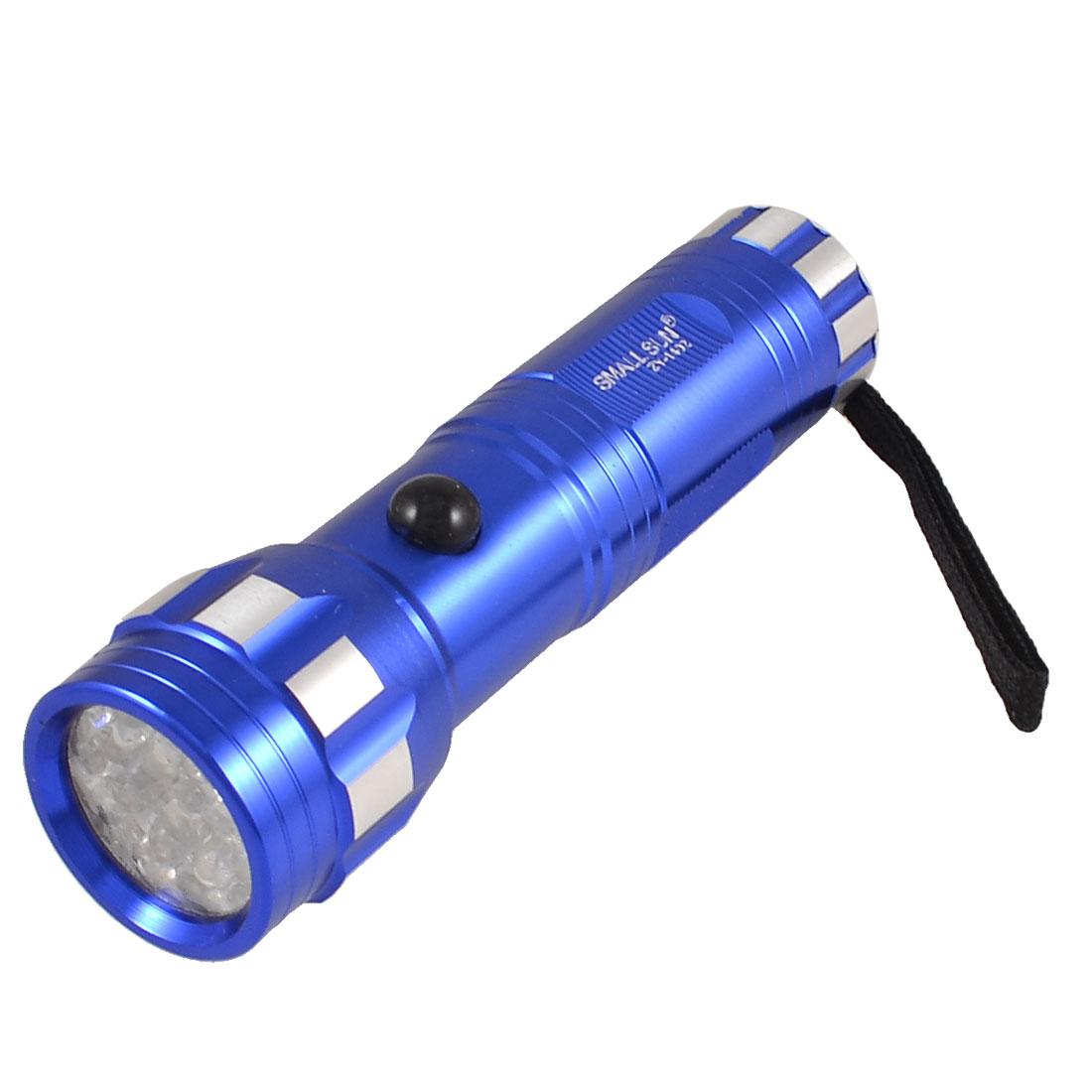 Blue Mini Flashlight White 14 LED 80 Lumen Torch w Nylon Cord String