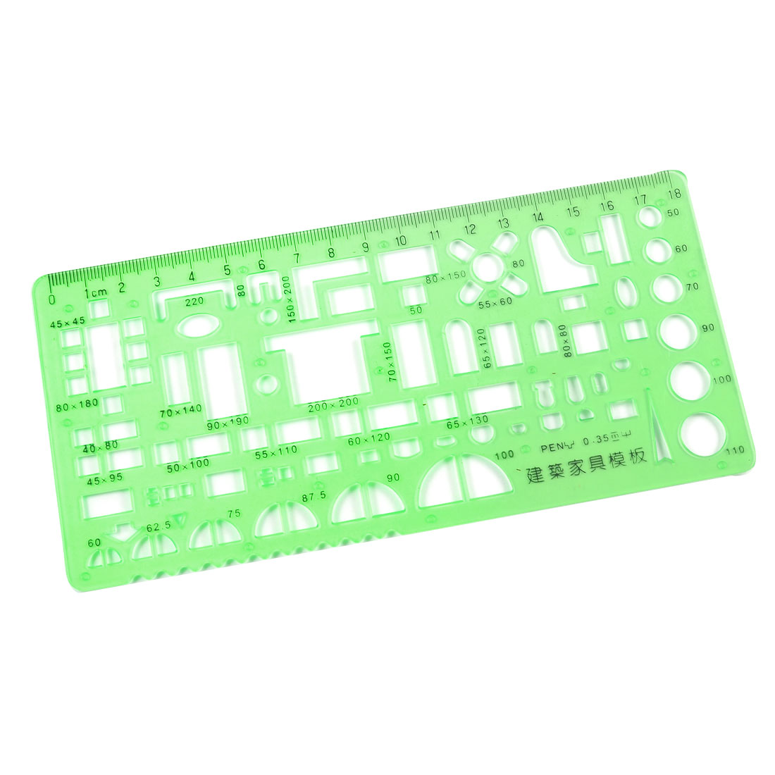 Plastic Construction Template 0-18cm Centimeter Measuring Ruler Green