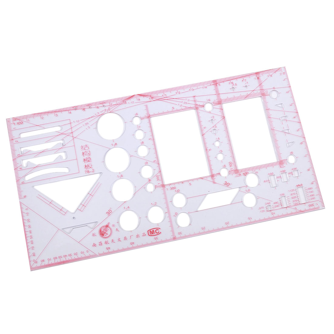 Red Scale Rectangle Clear Plastic Construction Template Ruler Measure Tool