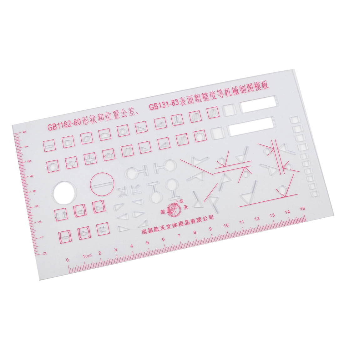 15cm Centimeter Measuring Red Scale Clear Plastic Mechanical Drawing Template Ruler