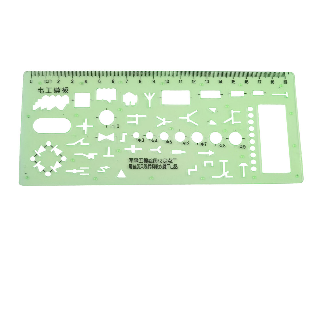 0-19cm Plastic Centimeter Measuring Electrician Template Ruler Green