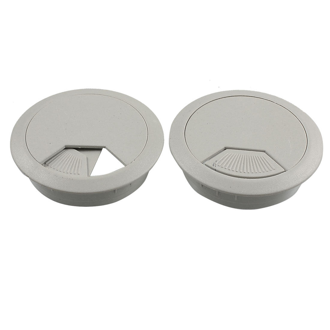 53mm Gray Plastic Desk Computer Cable Cover Grommet Organizer Shell 2 Pcs