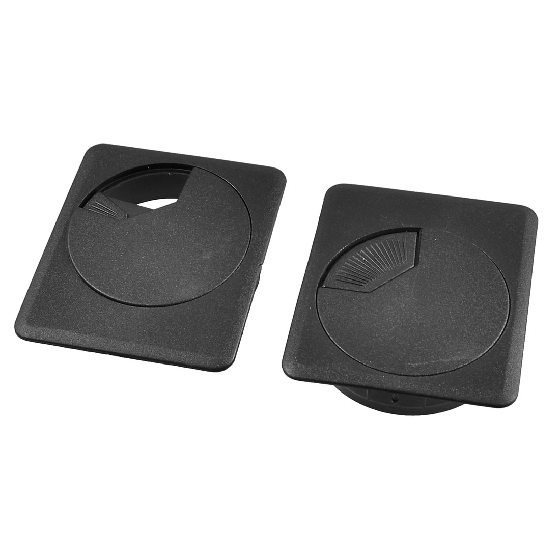 2 Pcs 52mm Plastic Desk Computer Cable Cover Grommet Organizer Shell Black