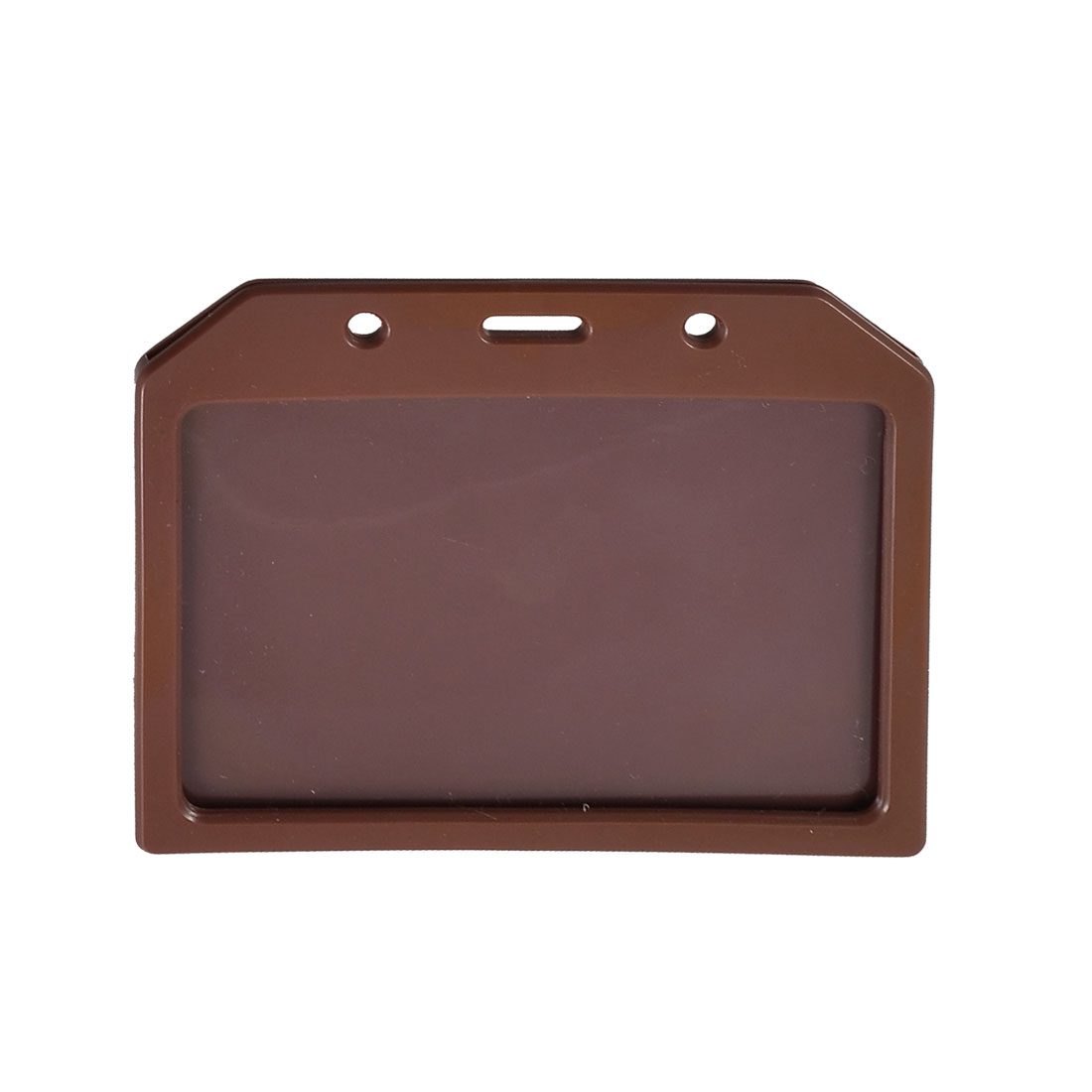 Plastic Horizontal Exhibition Office ID Card Holders Brown Clear