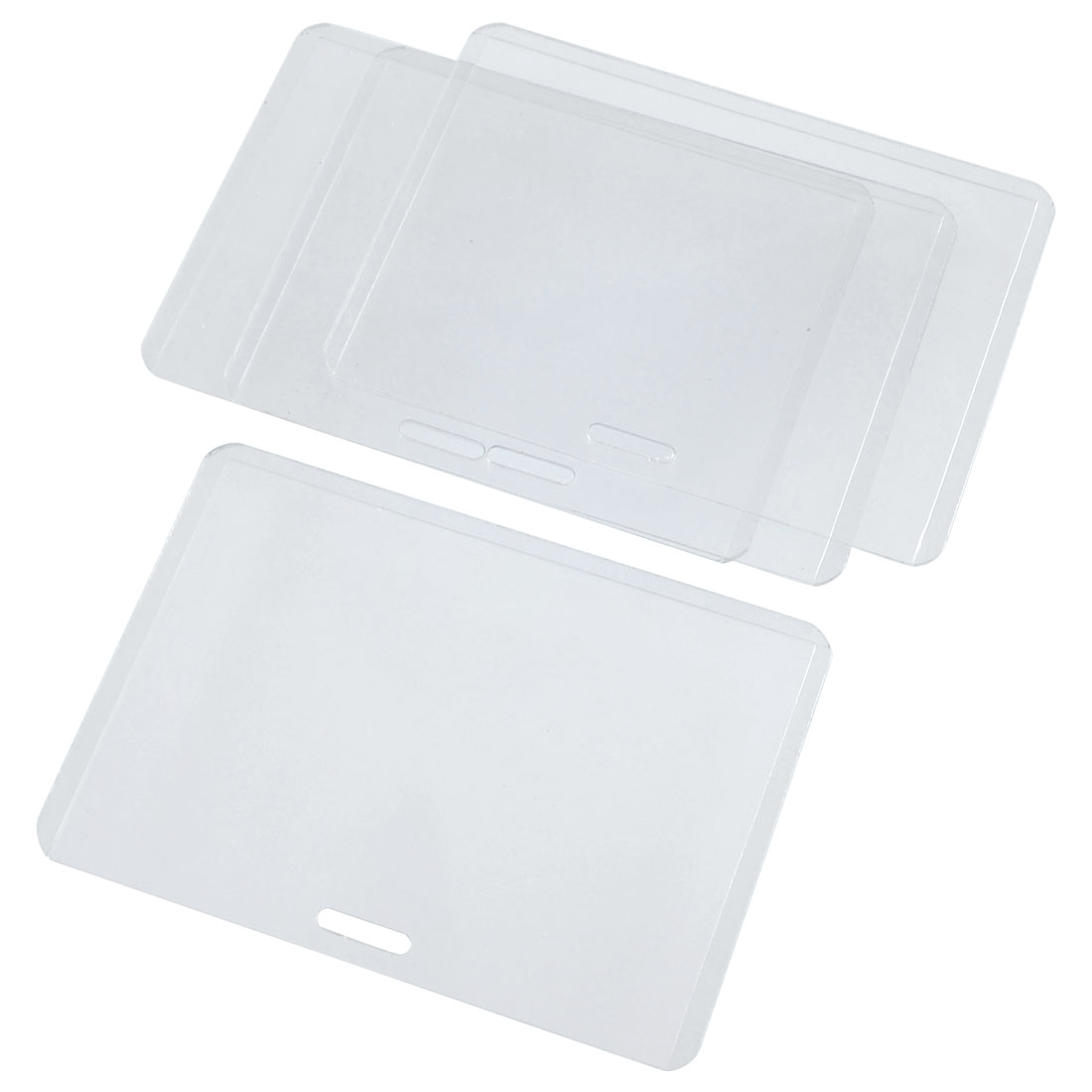 Plastic Horizontal Exhibition Office ID Card Holders Clear 4 Pieces