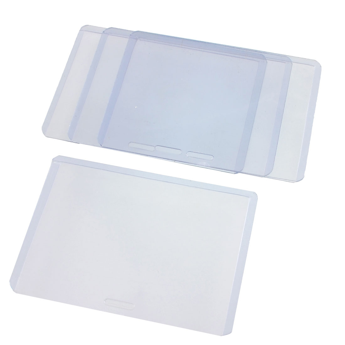 Plastic Horizontal Exhibition Office ID Card Holders Transparent 4 Pcs