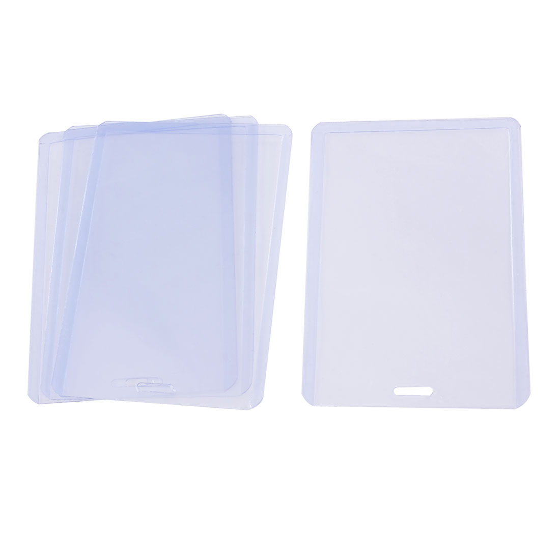 Clear Blue Plastic Vertical Business ID Badge Card Holder 4 Pcs