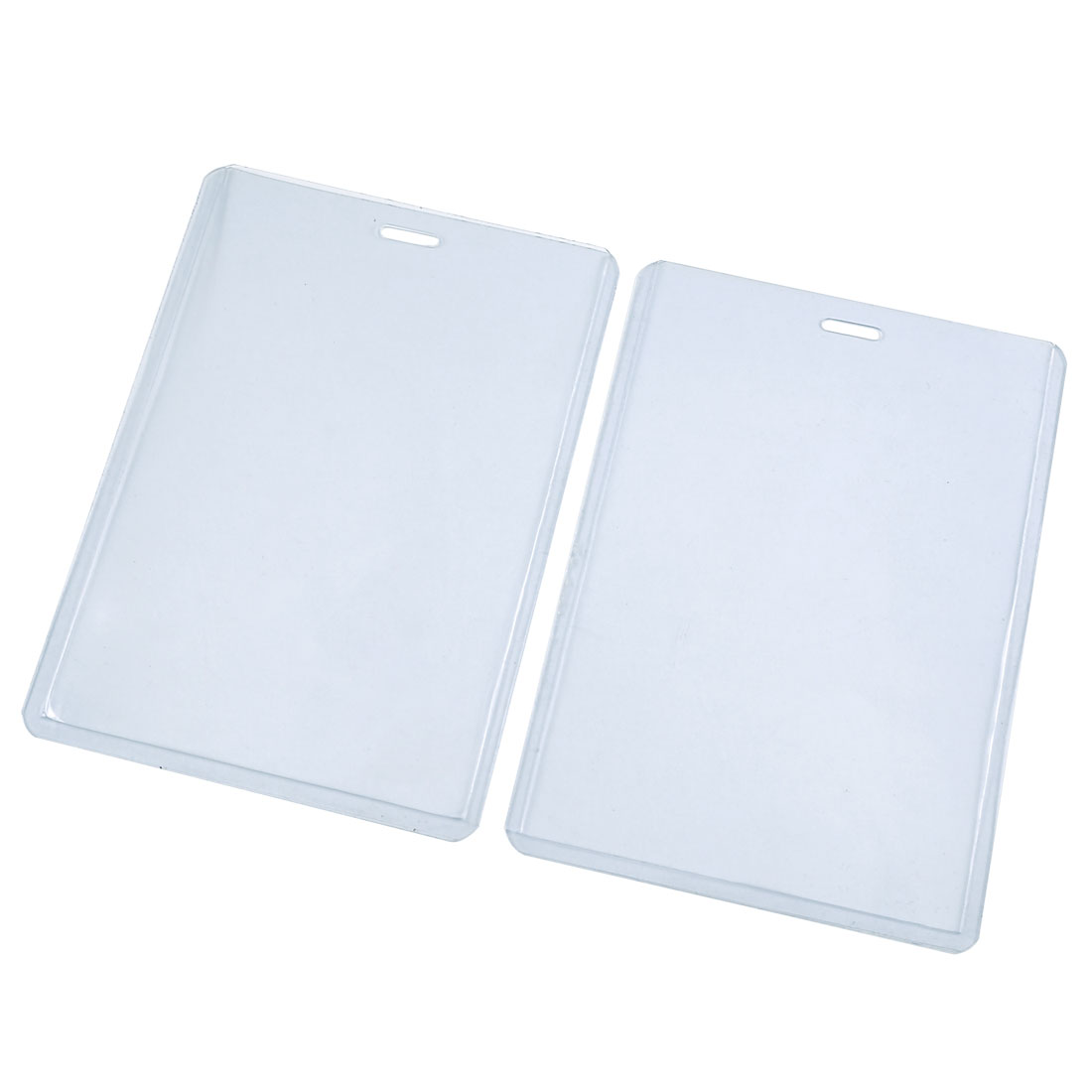 Clear Blue Plastic Business ID Badge Card Vertical Holder 2 Pieces
