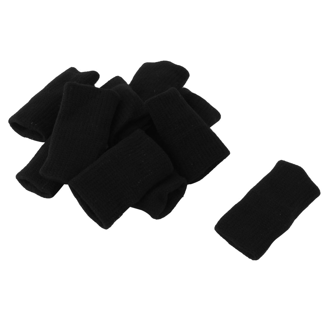 Black Sports Basketball Fitness Neoprene Finger Cover 10 Pcs