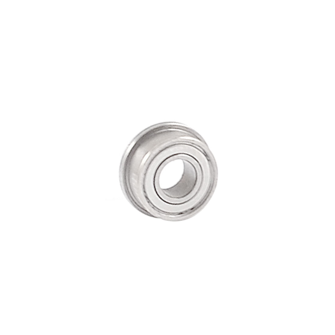 9mm x 4mm x 4mm Metal Shields Deep Groove Flanged Ball Bearing Silver Tone