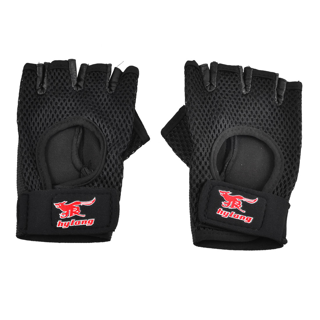Exercise Hook and Loop Closure Half Finger Gloves Support Black Pair for Unisex