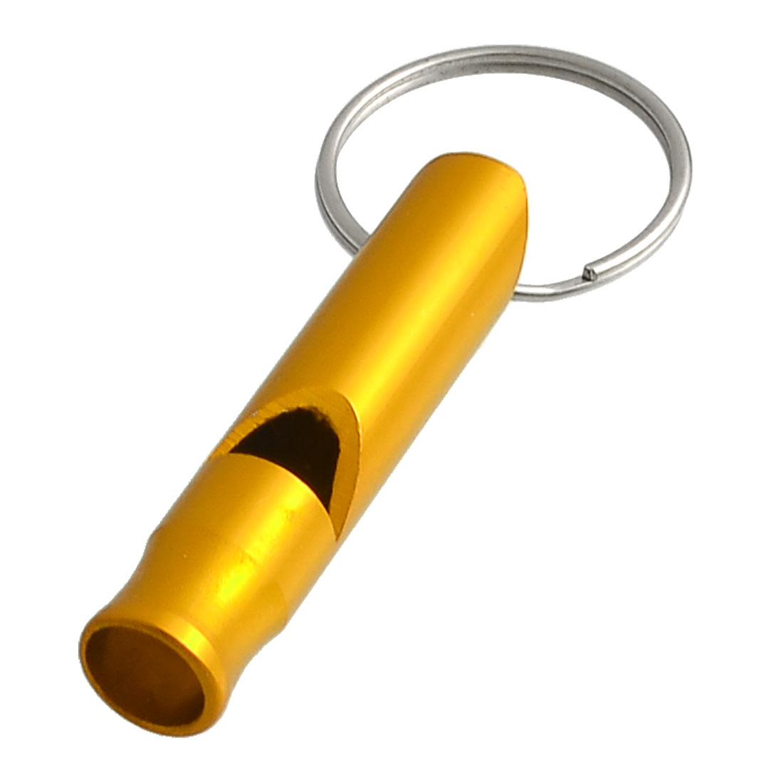 Gold Tone Aluminum Safety Tube Whistle Keyring Keychain Handbag Ornament