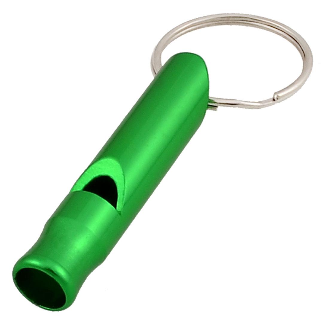 """Aluminum Keys Holder 1"""" Dia Key Ring Green Whistle Toy for Kids"""
