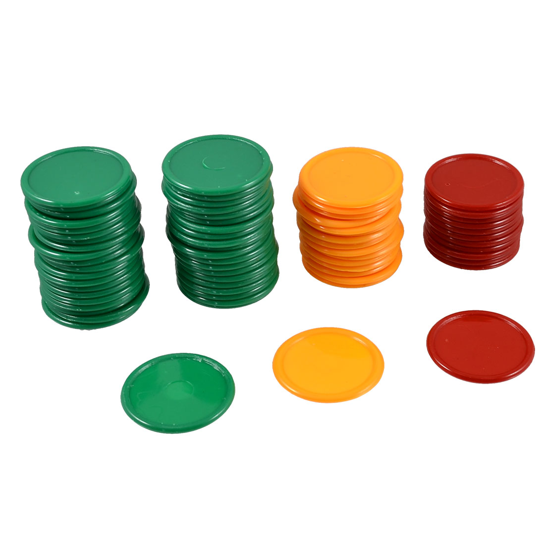 Red Orange Green Round Shaped Mini Poker Chips Lucky Game Props 68 Pcs
