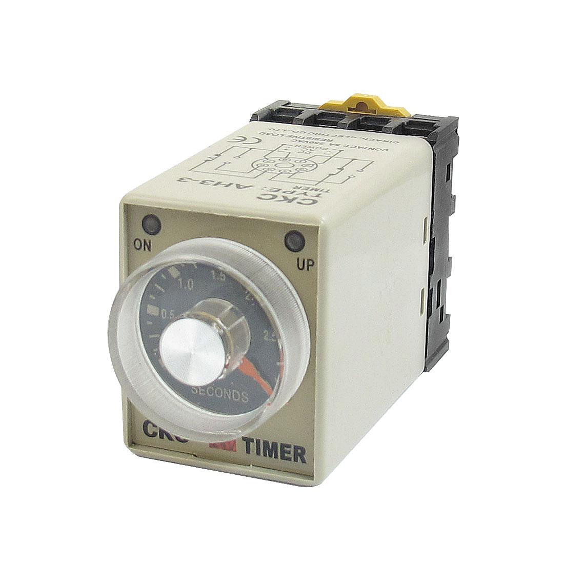 AH3-3 0-3 Sec 8 Pins Plastic Housing Delay Timer Time Relay 24VDC + Socket