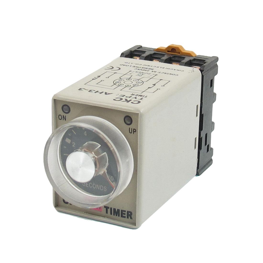 AC 24V 8 Pin 0-10s 10 Sec Rail Mount AH3-3 Delay Timer Time Relay + Socket