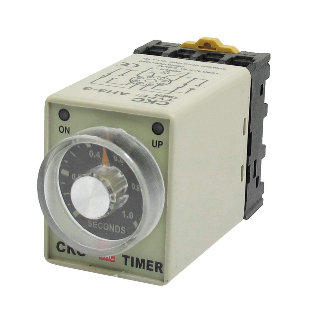 0-1 Sec 8 Pin Plastic Housing Delay Timer Time Relay AC 220V AH3-3 w Base