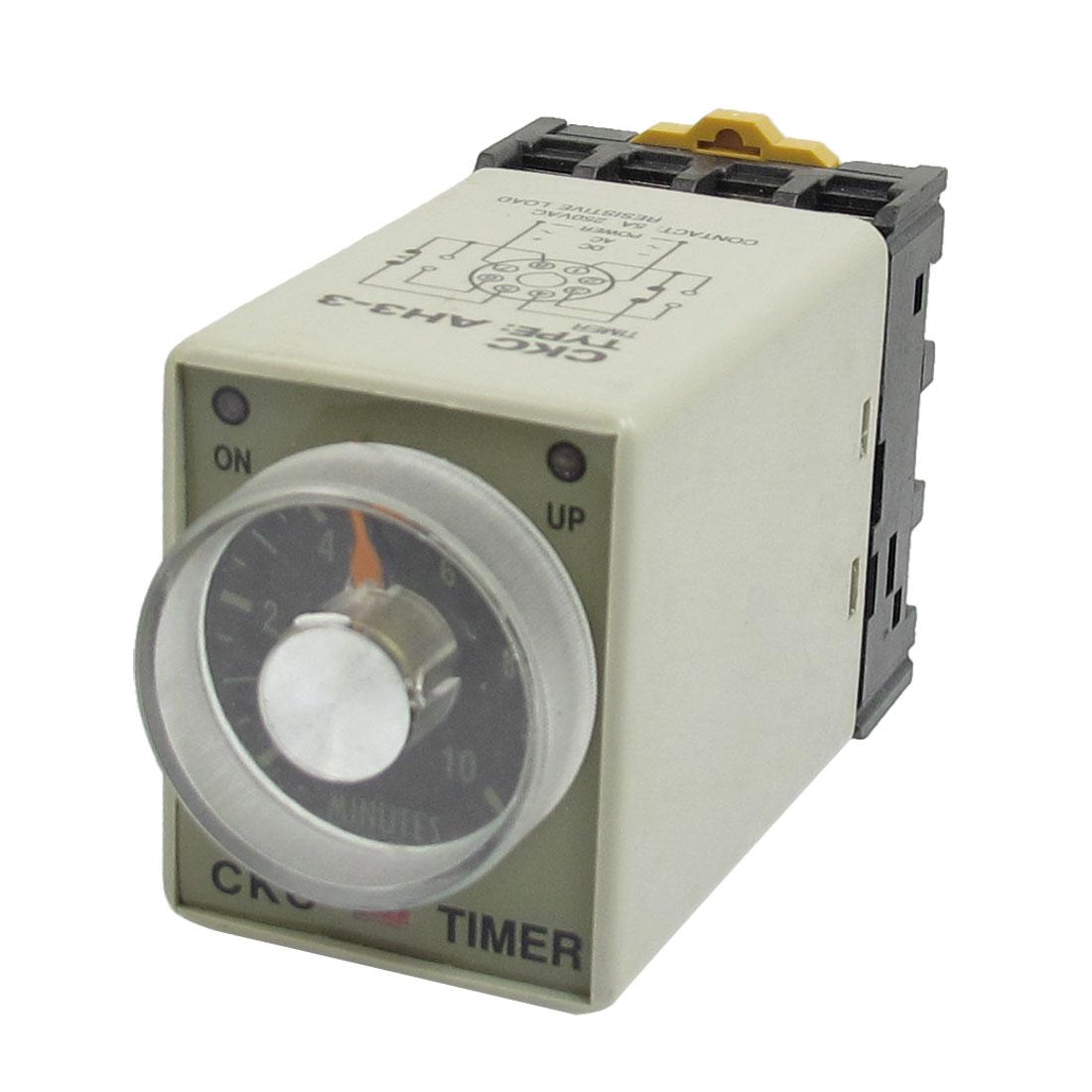 380VAC 8 Pin 0-10Min. Rail Mount AH3-3 Delay Timer Time Relay + Socket