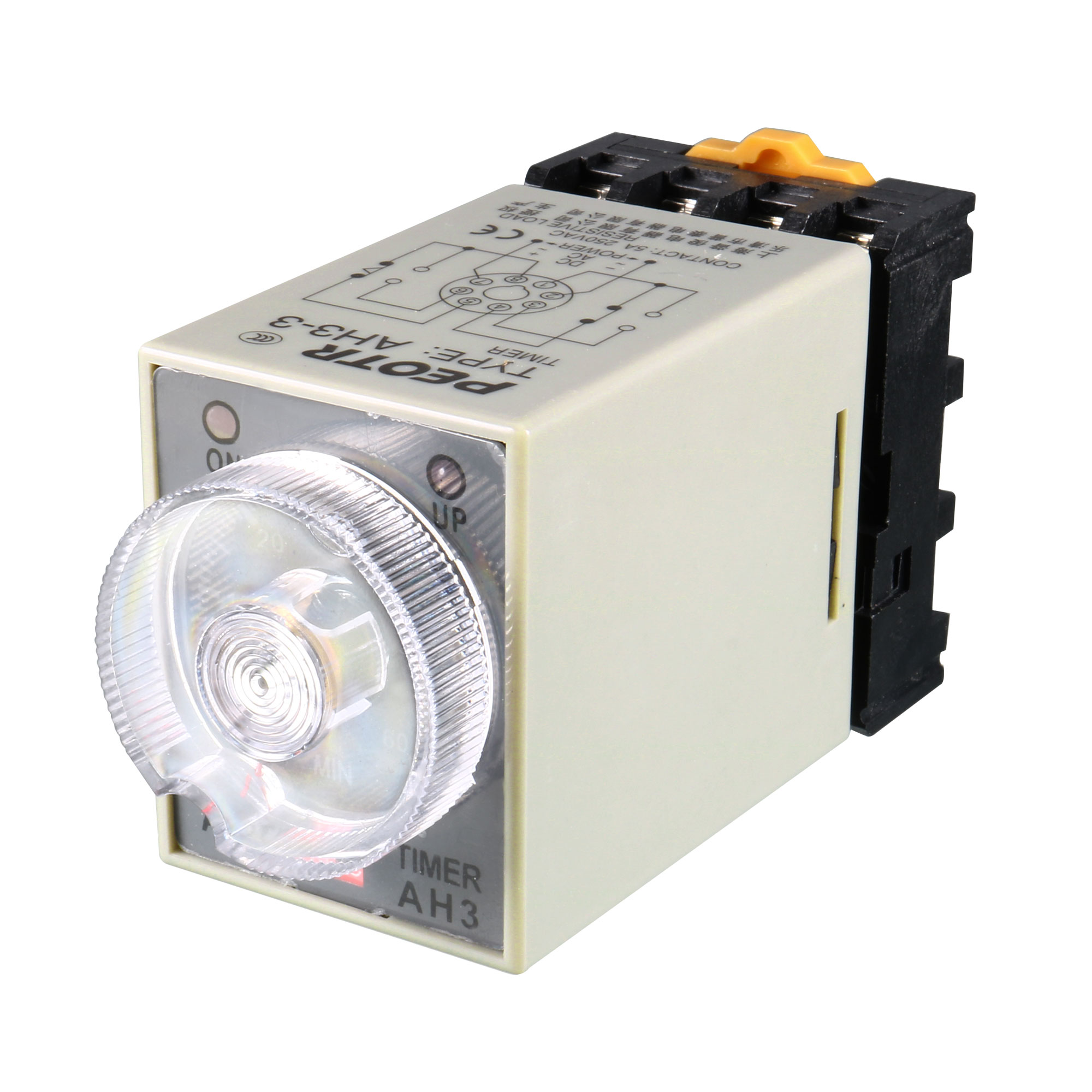 AC 110V 8P 0-60 Minutes Range Adjustable Delay Timer Time Relay AH3-3 + Base