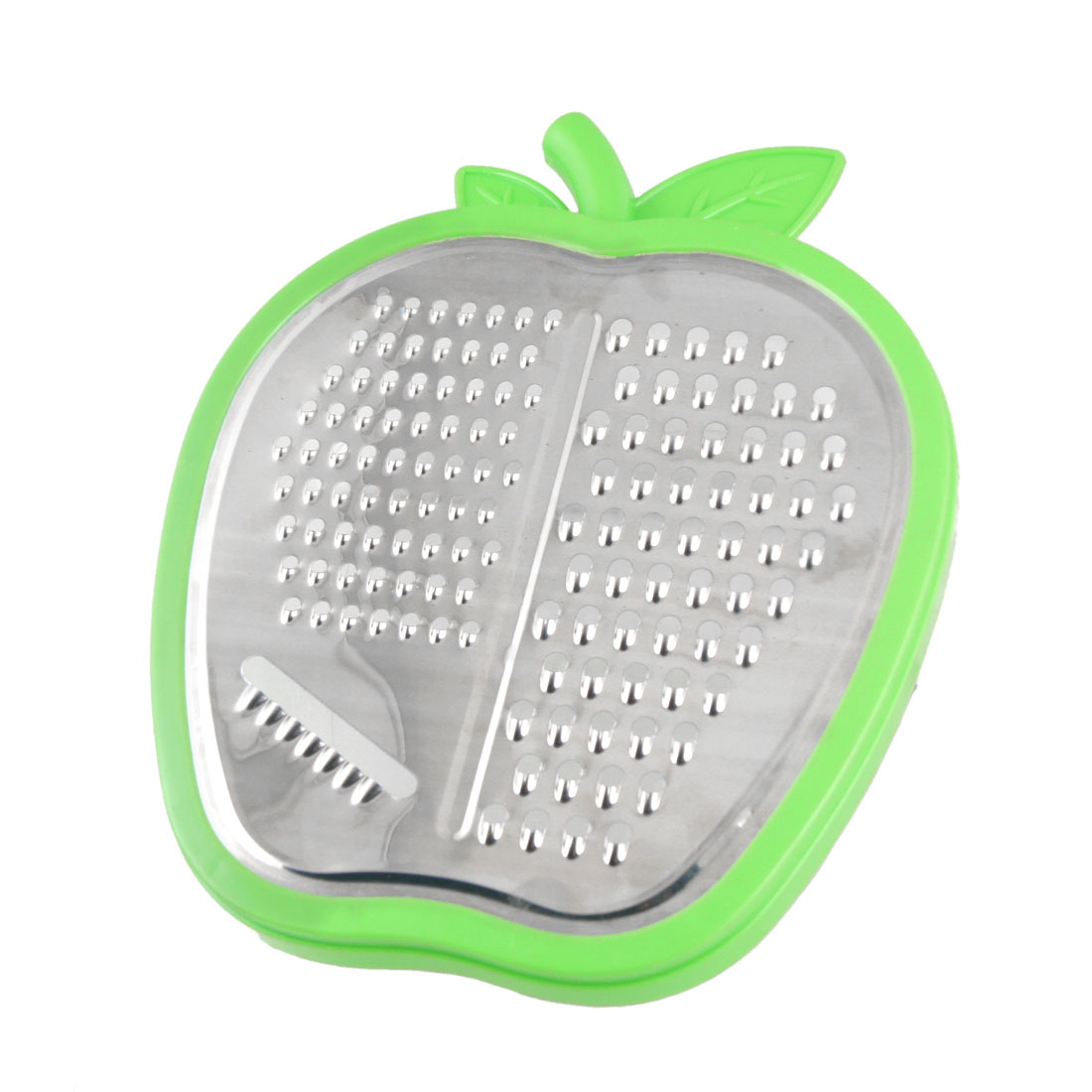Kitchen Fruit Graters Apple Shape Vegetable Peeler Silver Tone Green Clear