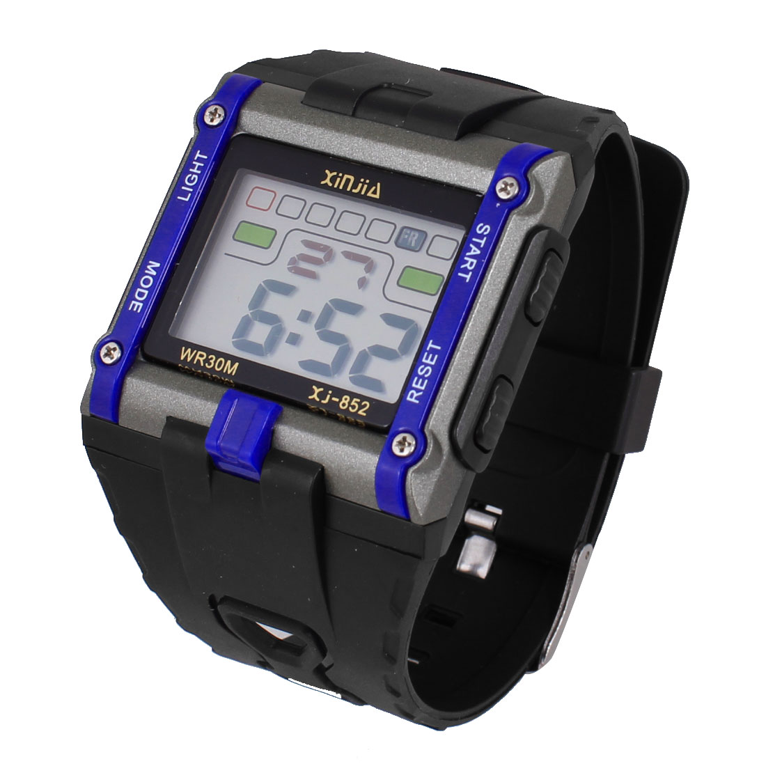 Adjustable Band Coldlight Stopwatch Alarm Clock Sports Wrist Watch Blue