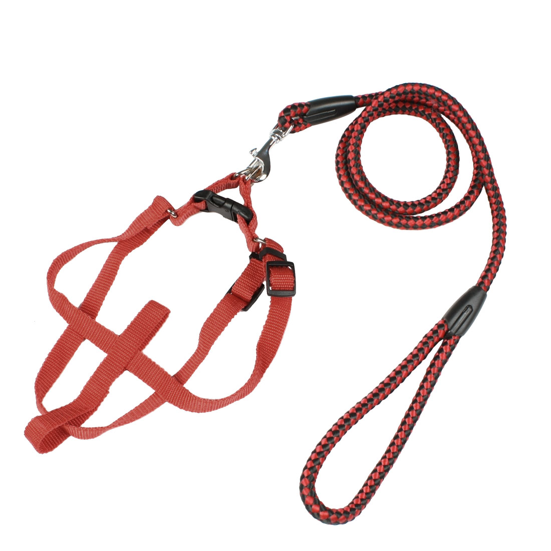Red Black Braided Nylon Pet Dog Collar Halter Harness Lead Leash 1.14M