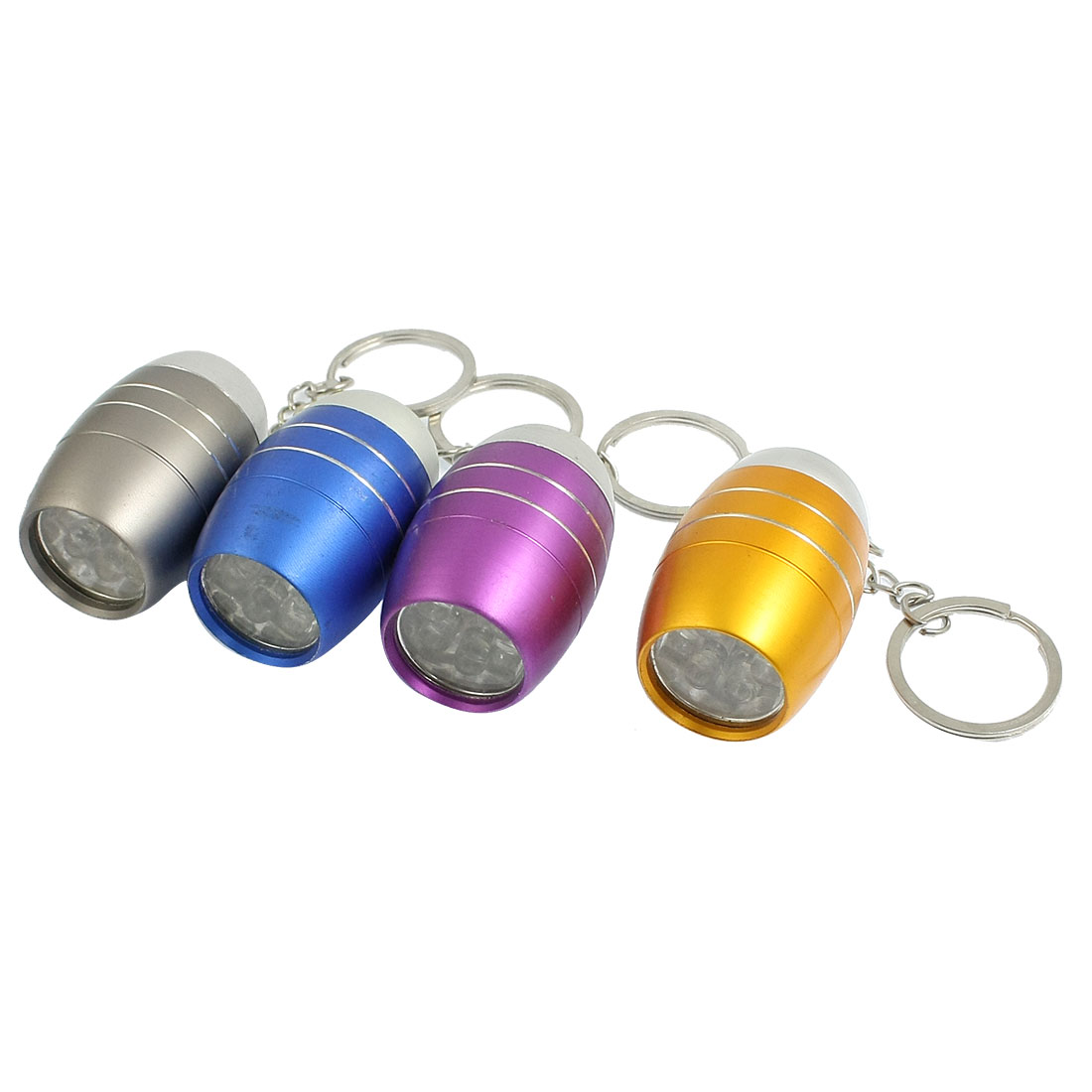 4Pcs Outdoor Camping White 6 LED Aluminum Mini Flashlight Torch