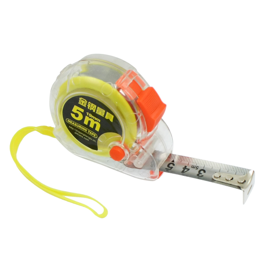 Plastic Housing Self Retract Measure Tape Rule 5M Yellow Orange Clear