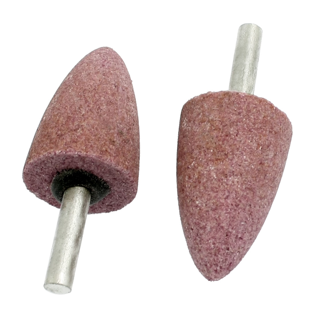 2 Pcs 25mm x 39mm Cone Shape 6mm Shank Abrasive Mounted Point Pink