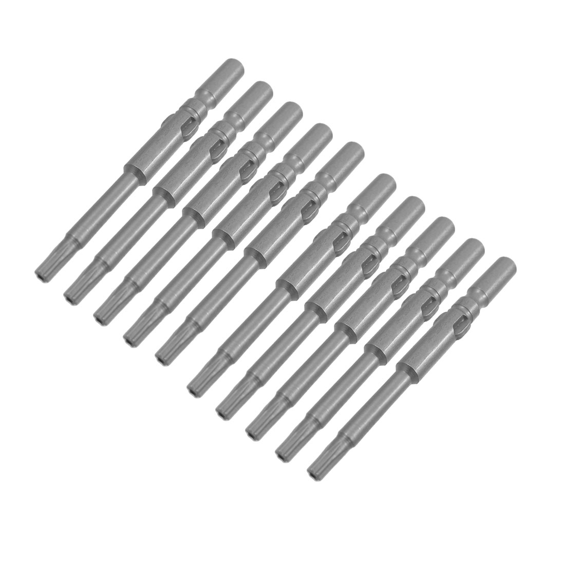 10 Pcs T10 Gray Magnetic 3mm Tip Hex Screwdriver Bits Tool