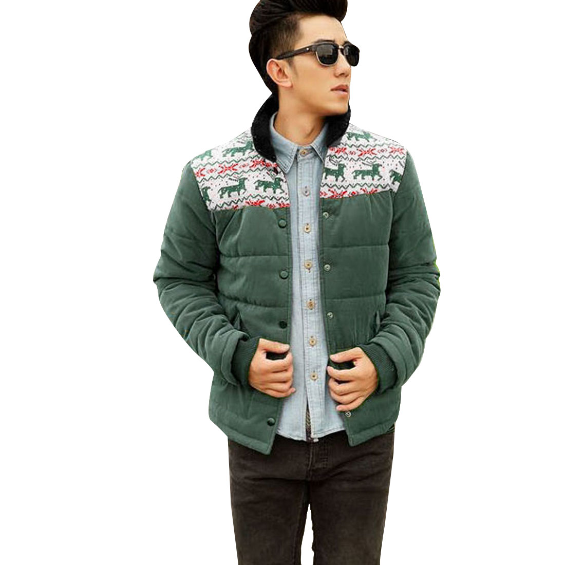 X'mas Men Textured Stand Collar Button Olive Green Coat M