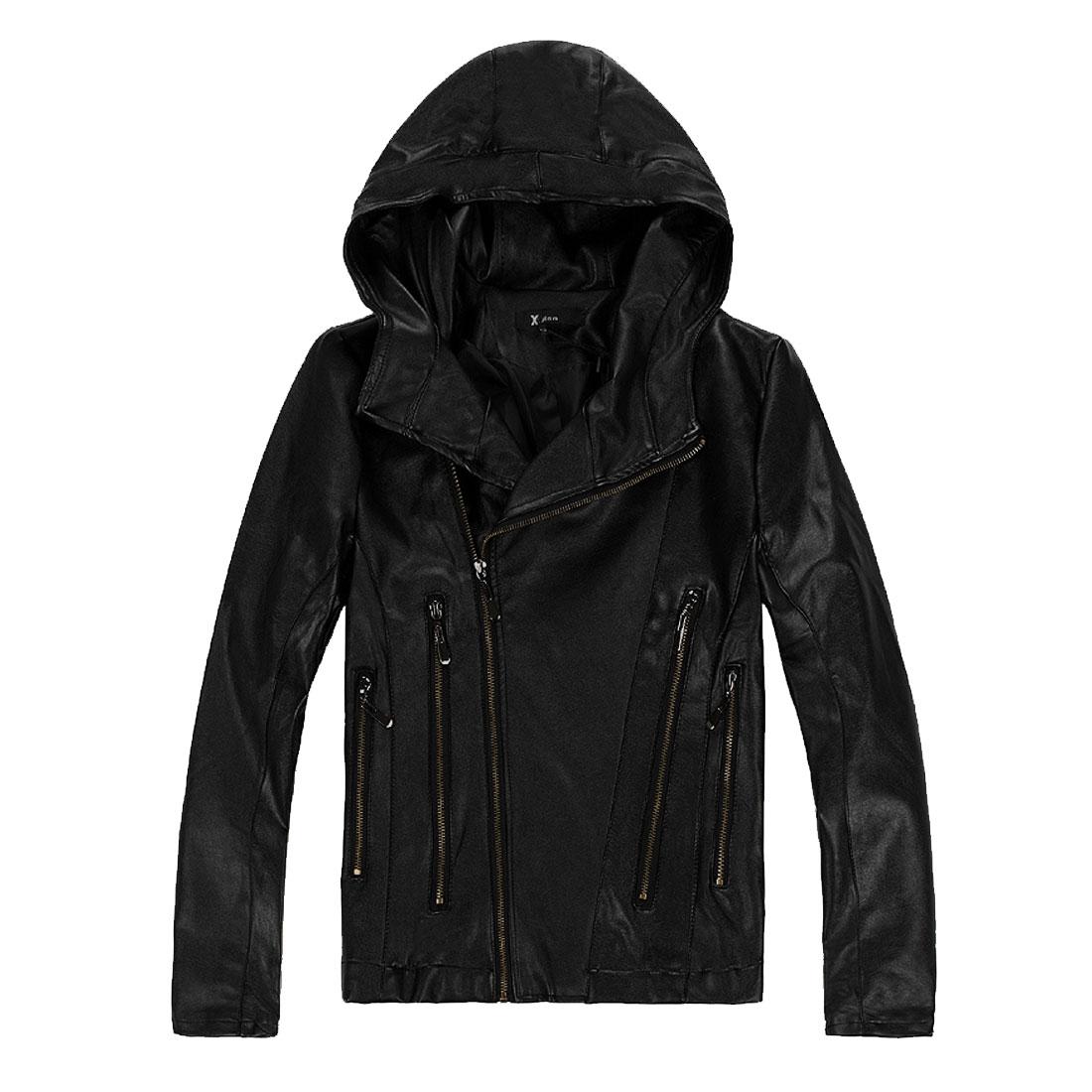 Mens New Fashion Black Long Sleeve Zippered Biker Jacket S