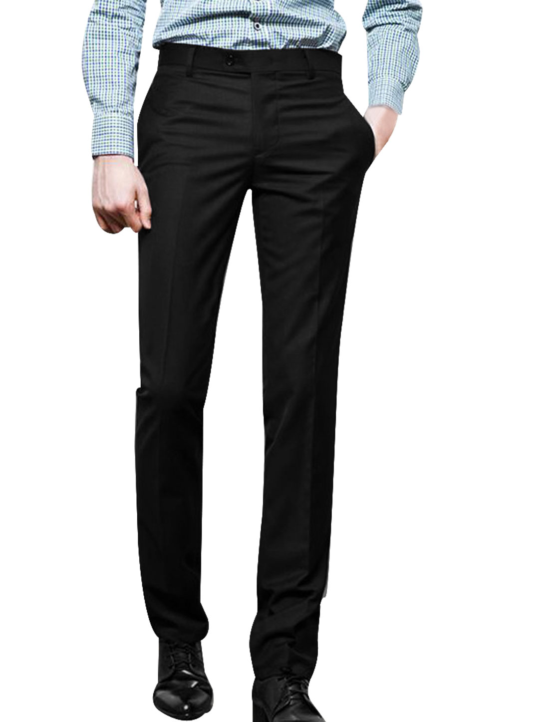 Mens Black Natural Rise Concealed Zipper Side Fashion Office Pants W34