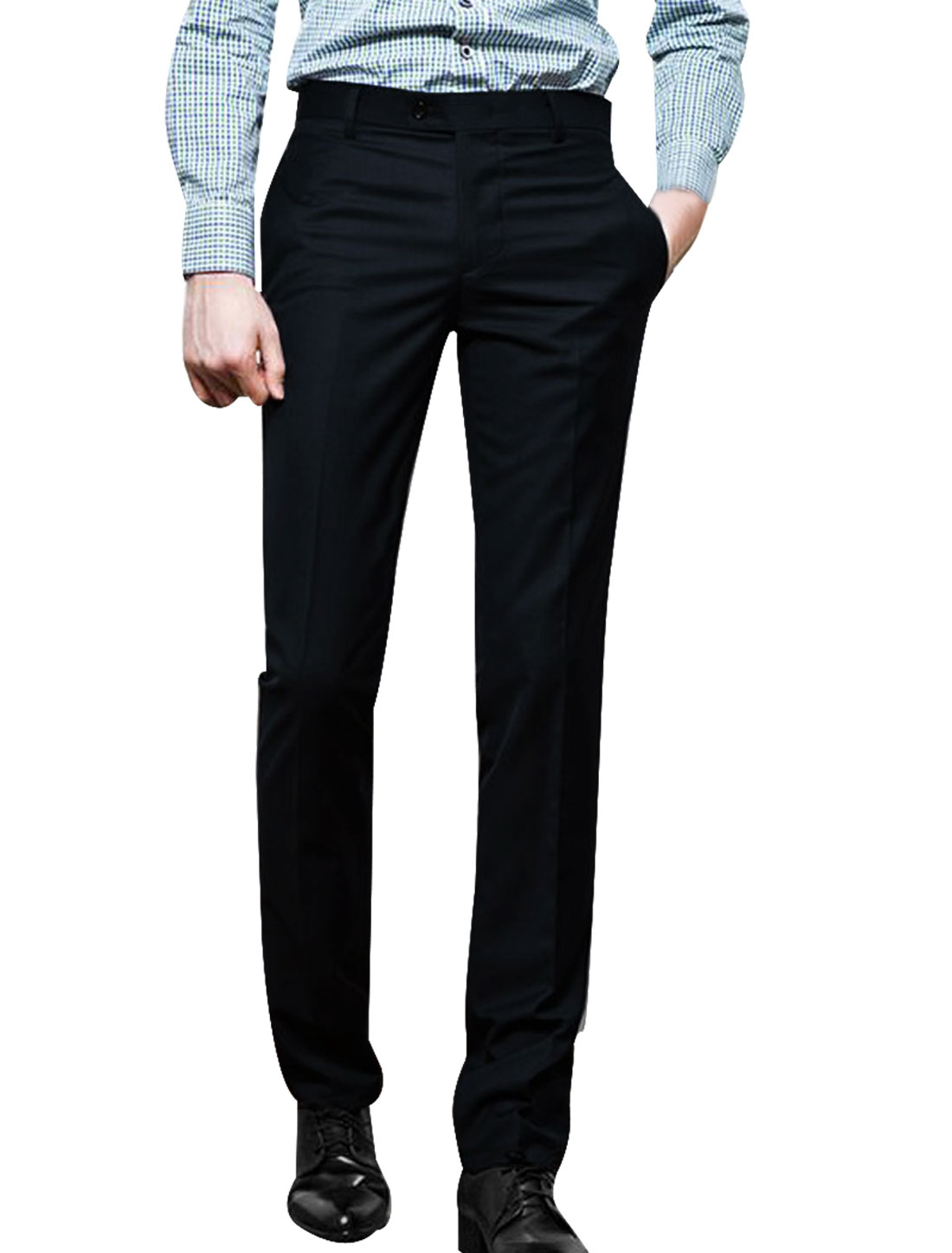 Mens Dark Blue Concealed Zipper Side Pockets Details Pants W34